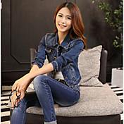 Feminino Jaqueta jeans Para Noite Casual Simples Primavera Outono,Sólido Curto Algodão Lapela Xale Manga Longa