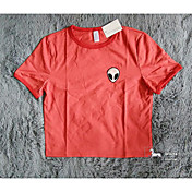 aliexpress ebayホットニューレッドラウンドネックTシャツ半袖Tシャツ女性エイリアンパターン
