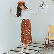 Firmar en primavera 2017 versión coreana de las flores florales retro elástico cintura faldas flounced