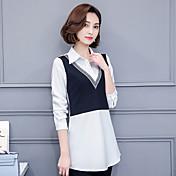 2017 firman dos falsos femenina camisa de manga larga delgada era secciones delgadas y largas que basa la camisa blanca marea ventilador
