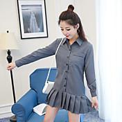 2017 nueva versión coreana de las rayas verticales solapa vestido de manga larga falda plisada era delgada