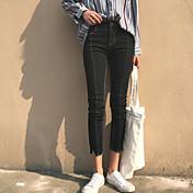 レディース ストリートファッション ミッドライズ タイト strenchy ジーンズ パンツ 純色 純色