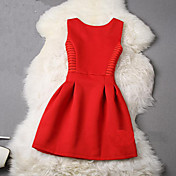 Mujer Línea A Vestido Uso Diario Fiesta de Pedida de Mano Baile de Promoción Fiesta de Boda Cita Bonito,Color sólido Escote Redondo Sobre