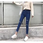 Signo de primavera de buena calidad y el otoño de corte de corte pantalones vaqueros estiramiento de la cintura femenina lápiz delgado