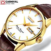 Carnival Hombre El reloj mecánico Chino Cuerda Automática Piel Banda Cosecha Casual Marrón El oro / blanco