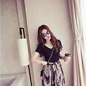女性の新しい韓国の女性の半袖のプリントシフォンドレスは薄いVネックの長いセクションのウエストのドレスでした