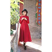 新しい春2017女性に署名'ドレスのヴィンテージ演劇スリム人形の襟長袖のドレス