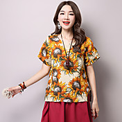 Signo de grasa mm 2017 verano nuevo tamaño grande de algodón impreso camisa de manga corta camiseta