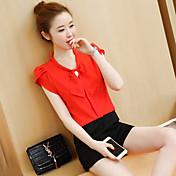 Mujer Moderno Oficina/Carrera Uso Diario Cita Verano Blusa Falda Trajes,Escote en V Color sólido Manga Corta Clásico Inelástica