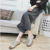 Mujer-Tacón Plano-Confort-Oxfords-Informal-PU-Almendra Marrón Claro