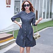 Tiro real en Europa y América tamaño grande pantalones vaqueros delgada costura vestido de manga corta mujeres delgadas 2017 nuevo vestido