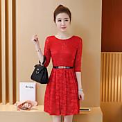 Aラインのドレスの女性のレースの袖のドレスの長いセクションを底2017夏の新しい韓国の女性に署名