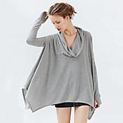 ヨーロッパとアメリカのファッション性格不規則な裾のパイルカラーバットスリーブ緩い大きなヤードレジャーミトンのTシャツ