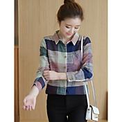 Signo 2017 primavera coreano salvaje camisa de algodón suelto fresco teatral color camisa a cuadros mujer