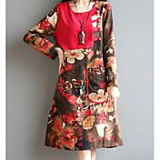 記号2017春の新しい国の風プリント大サイズの女性ルーズ長袖の綿のドレス