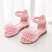 女の子-ドレスシューズ カジュアル-PUレザー-フラットヒール-コンフォートシューズ-サンダル-ホワイト パープル ピンク