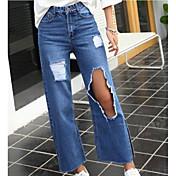 primavera signo nuevas mujeres de cintura alta pantalones vaqueros del agujero flojo coreano cuerno recto pierna ancha