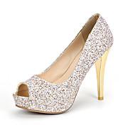 Mujer-Tacón Stiletto-Zapatos del club-Tacones-Boda Vestido Fiesta y Noche-Purpurina Materiales Personalizados-Dorado Blanco