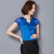 サイン2017新しいVネックシルク半袖Tシャツエレガントな気質スリム薄いブラウス