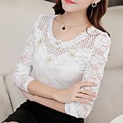 リアルショット2016秋新韓国女性スリム薄型Vネック長袖レースシャツ
