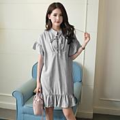 vestido coreano de algodón a rayas signo viento de la universidad de hojaldre