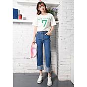 Pantalones vaqueros femeninos de alta cintura pierna ancha pantalones vaqueros rectos primavera y otoño nuevos estudiantes coreanos