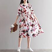 サインアニーフォレスト2017新しい春の花のレトロなアートのファンのルーズな綿のドレスドレス