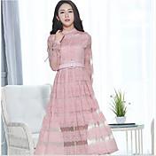 スリム韓国サイン春新しい女性は大きなスイングスカート気質レース長袖のドレスひょろっとモデルでした