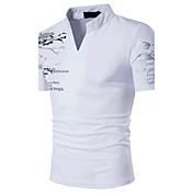 Hombre Simple Boho Activo Deportes Casual/Diario Noche Verano Camiseta,Escote Chino Estampado Manga Corta Algodón Medio