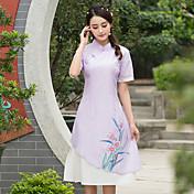 nuevo vestido de manga corta cuello pequeño impresión de la cintura del vestido del cheongsam pintado a mano la primavera 2017
