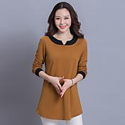 緩いコットンVネック長袖Tシャツは薄い大きいサイズの女性と戦うために長いセクションの脂肪mmの春に新しい韓国語版に署名