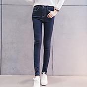 firmar nuevos modelos de primavera 2017 nueva cintura elástica alta era pies pantimedias vaqueros lápiz fino femenino de los estudios