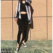 signo de la primavera 2017 nuevos salvajes delgados pantalones de mezclilla negro pantalones lápiz irregulares