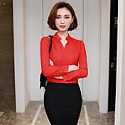 firmar camisa de manga larga de cuello de primavera 2017 nueva moda coreana camisa de gasa salvaje femenino delgado del collar