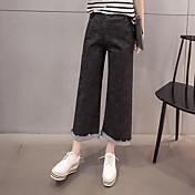 春モデルの2017韓国語バージョンは、女性のBF風潮ワイドレッグパンツジーンズをカーリング弾性腰を失う署名