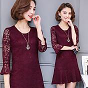 vestido de señal de la primavera 2017 nueva versión coreana de la sección larga delgada del vestido de la manga de encaje alrededor del