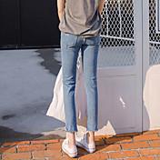 本当のショットを見つけます!春のファッションライン!乞食穴9つのカーリングウエストジーンズ女子学生の流入