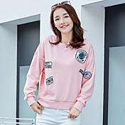 記号2017スプリング新しい韓国女性単純な丸い首は薄いルーズ長袖のTシャツだった