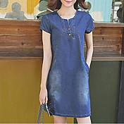 El vestido delgado del vaquero femenino 2017 resorte y las yardas coreanas nuevas del verano eran falda floja fina del dril de algodón una