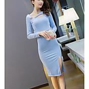 Signo 2016 otoño nuevo coreano adelgazante sexy halter-cuello vestido hembra oblicuo hueco