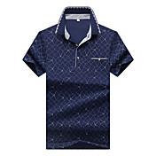 Pánské Geometrický Běžné/Denní Práce Velké velikosti Jednoduché Polo-Léto Bavlna Spandex Košilový límec Krátký rukáv Střední