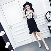 正味の2017新しい韓国の波ポイントボウタイストラップシャツ+ファッションフィッシュテールスカートのスーツに署名