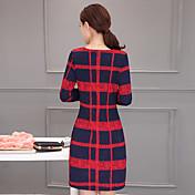符号2017春新しい韓国のスリム気質長袖のチェック柄のドレスは薄い女性のバッグヒップでした