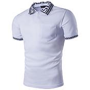 メンズ カジュアル/普段着 Polo,ストリートファッション シャツカラー 幾何学模様 ポリエステル 半袖