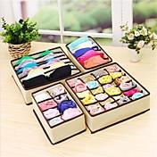 La caja casera del almacenaje de 4pcs almacena la organizador del almacenaje de los calcetines de la corbata del sujetador de la caja del