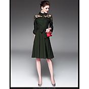 ワードスカート2017春第七トランペット袖のドレスをステッチ新しい通勤ウエストレース
