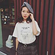 韓国の風の石膏 - はさみの手紙t手紙がゆるやかな半袖ラウンドネックのTシャツのヘッジを印刷