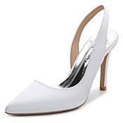 Mujer-Tacón Stiletto-Talón Descubierto-Zuecos y pantuflas-Boda Exterior Oficina y Trabajo Vestido Fiesta y Noche-Seda-Blanco Rosa claro
