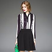 本当のショットの女性の秋新しい韓国のストライプの長袖のドレス女性の気質スリム小さな新鮮な