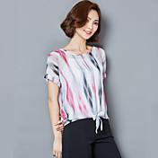 Sign 2017 summer blouses coreano fan slim yardas rayas camisa bottoming camisa camisa de gasa